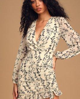 One True Love Cream Floral Print Ruched Long Sleeve Mini Dress