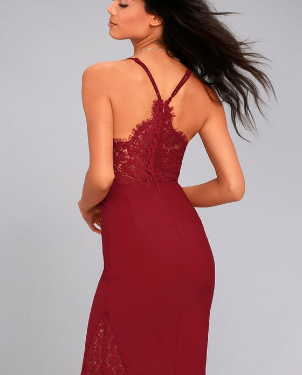 Only Want You Burgundy Lace Bodycon Midi Dress