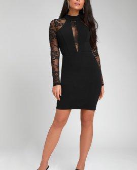 Oretha Black Lace Long Sleeve Bodycon Dress