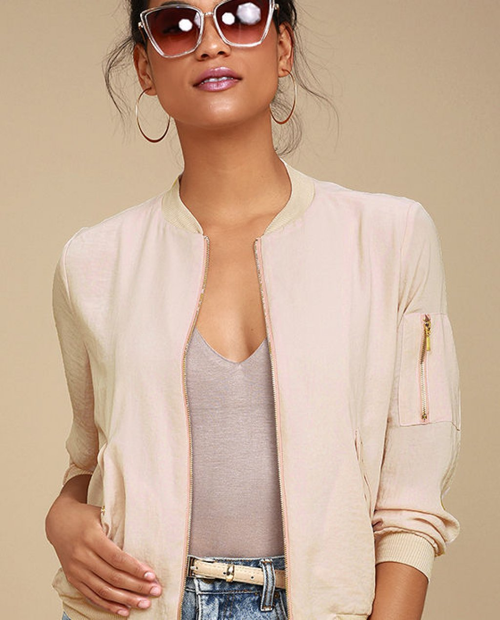 Orion Blush Pink Bomber Jacket