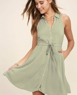 Others Follow Maddox Washed Olive Green Shirt Dress