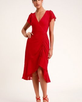 Outstanding Red Ruched High-Low Midi Dress