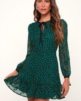 Ovila Forest Green Polka Dot Print Long Sleeve Dress