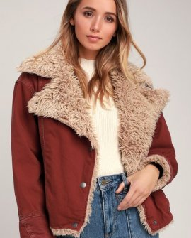 Owen Wine Red Oversized Sherpa Jacket