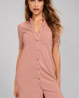 Oxford Comma Blush Shirt Dress