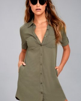 Oxford Comma Olive Green Shirt Dress