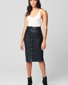 PU Snap Front Self Belt Skirt