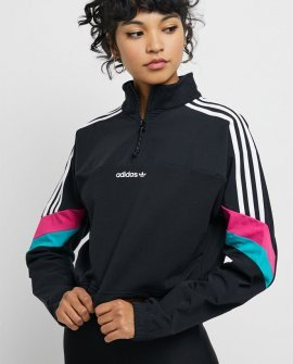 adidas Black Color Blocked Half Zip Crop Top