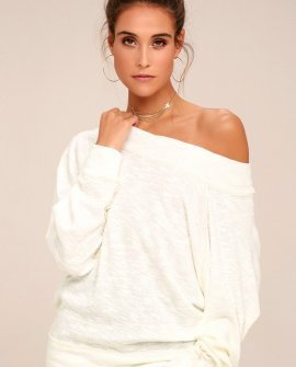 Palisades White Off-the-Shoulder Sweater Top