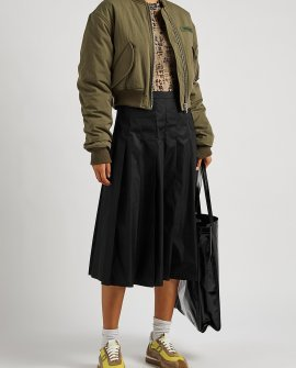 Palm Angels Army green cropped cotton-blend bomber jacket