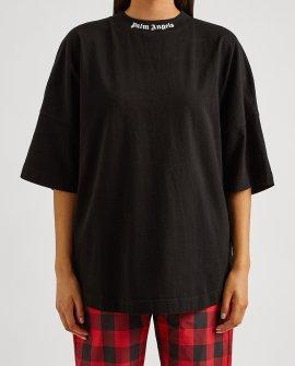 Palm Angels Black logo-print cotton T-shirt