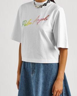 Palm Angels Miami white logo-print cotton T-shirt