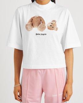 Palm Angels White bear-print cotton T-shirt
