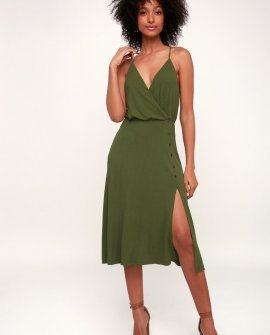 Palm Tree Breeze Olive Green Ribbed Midi Dress
