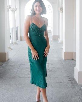 Palmira Dress In Forest Green