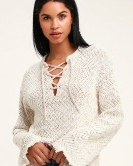 Palms for Daze Beige Lace-Up Knit Sweater