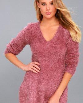 Pam Mauve Pink Eyelash Knit Sweater
