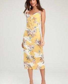 Papaya Pale Yellow Floral Print Sleeveless Midi Dress