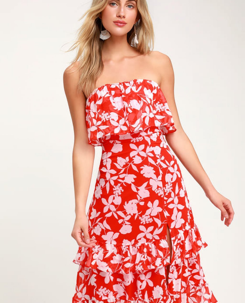 Paradise Is Waiting Red Floral Print Strapless Midi Dress