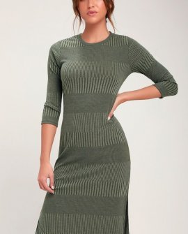 Parallel Dimension Olive Green Ribbed Midi Dress