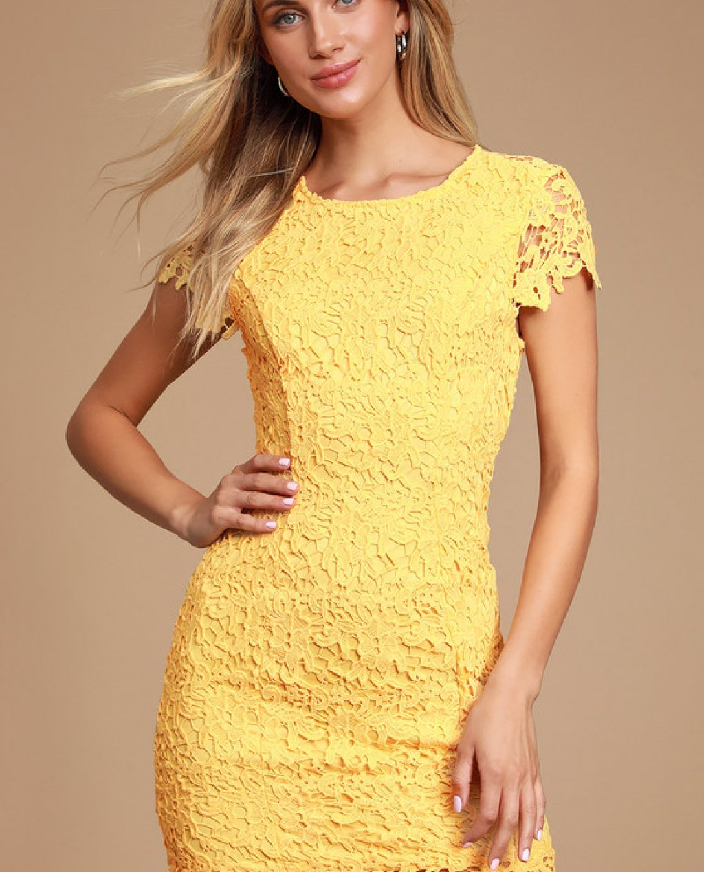 Paramour Yellow Lace Backless Bodycon Dress