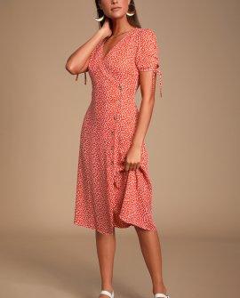 Paria Red Leaf Print Button-Up Short Sleeve Midi Dress