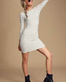 Paris Bound Black and White Striped Ribbed Bodycon Dress