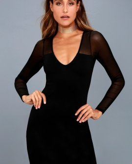 Parisian Nights Black Mesh Long Sleeve Bodycon Dress