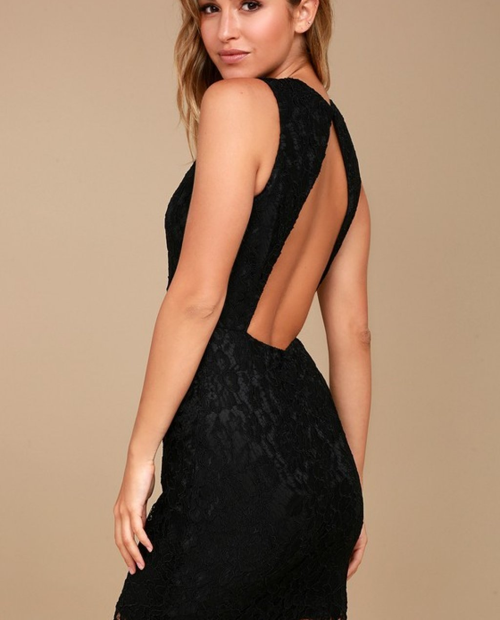 Black Lace Backless Bodycon Dress