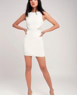 Party Talk White Mesh Cutout Bodycon Dress