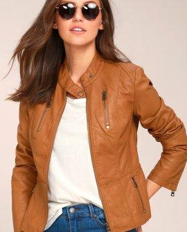 Peace of Mind Tan Vegan Leather Moto Jacket