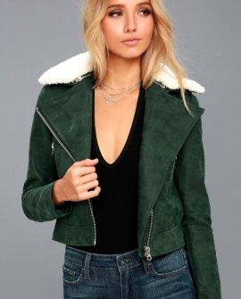 Peak My Interest Forest Green Vegan Leather Moto Jacket