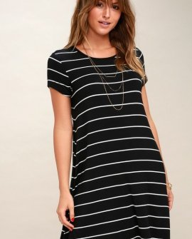 Pencil Black and White Striped Shirt Dress