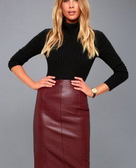 Pencil Me In Burgundy Vegan Leather Midi Skirt
