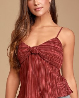 People Pleaser Burgundy Pleated Satin Knotted Tank Top