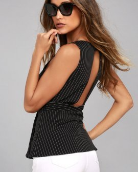 Pep Talk Black Striped Peplum Top