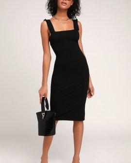 Persuasion Black Ruffled Bodycon Midi Dress