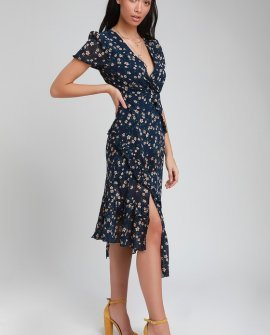 Petals and Poetry Navy Blue Floral Print Ruffled Midi Dress