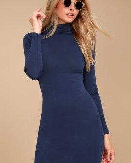 Phenomenal Feeling Navy Blue Long Sleeve Bodycon Dress