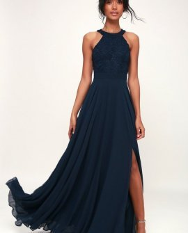 Picture Perfect Navy Blue Lace Maxi Dress