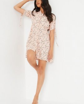 Pink Woven Ditsy Floral Ruched Sleeve Smock Dress