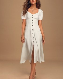 Pippa White Puff Sleeve Button Front Midi Dress