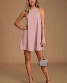 Pleasures of Romance Blush Tie-Back Mini Shift Dress