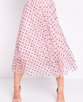 Pleated Polka Dot High Waisted Midi Skirt Pink ONE SIZE