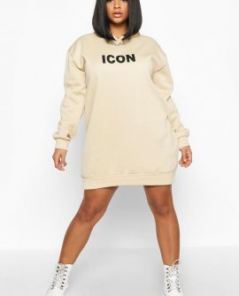 Plus 'Icon' Oversized Hooded Sweat Dress