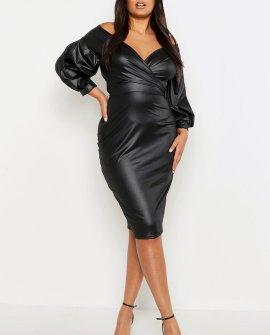 Plus Faux Leather Off Shoulder Midi Dress