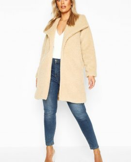 Plus Shawl Collar Teddy Faux Fur Jacket