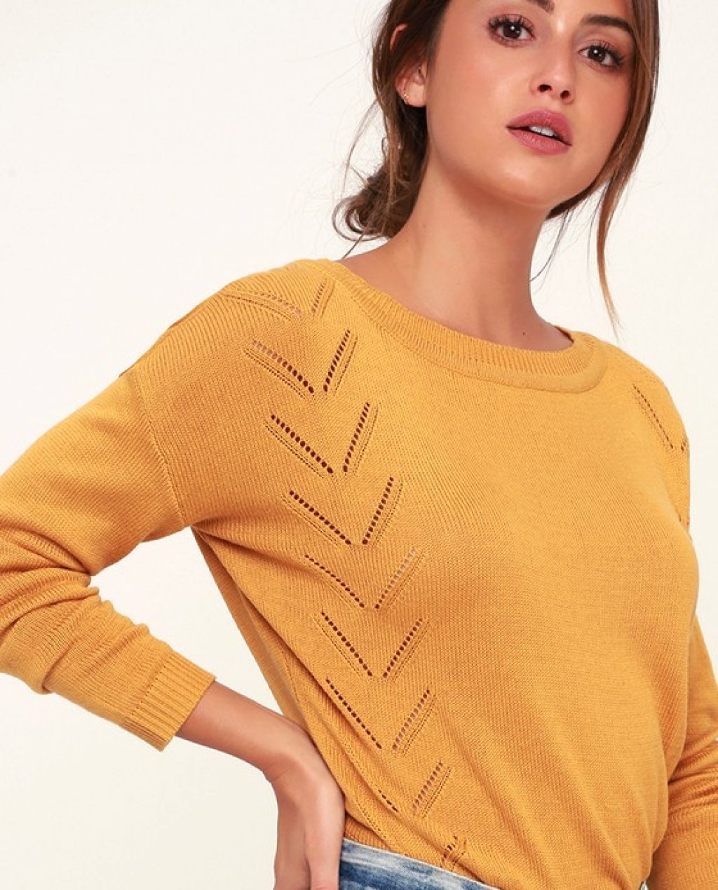 Pointelle Me More Mustard Yellow Knit Sweater