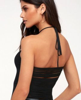 Pop Style Black Strappy Back Halter Top