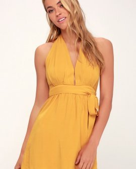 Positively Perfect Mustard Yellow Wrap Dress